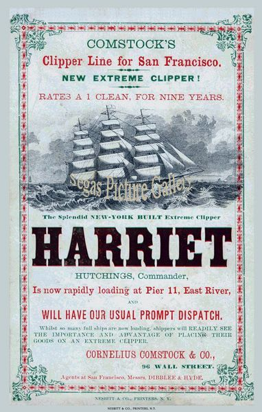 Fine art print of Ship Advertisement of the Clipper Ship - Harriet (Advert)