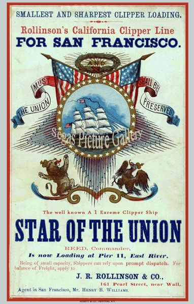 Fine art print of Ship Advertisement of the Clipper Ship - Star of the Union (Advert)