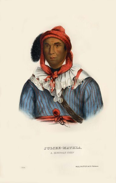 Fine art print of the American Indian Julcee-Mathla, a Seminole Chief by McKenney & Hall