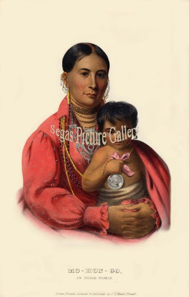 Fine art print of the American Indian Mo-Hon-Go, an Osage Woman by McKenney & Hall