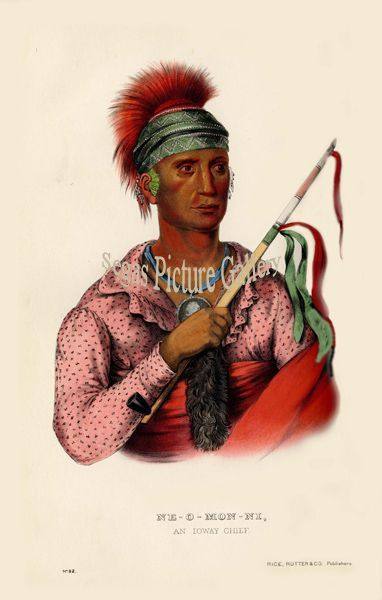 Fine art print of the American Indian Ne-O-Mon-Ni, or The Cloud from which The Rain Comes, an loway Chief by McKenney & Hall