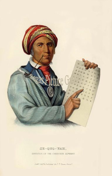 Fine art print of the American Indian Se-Quo-Yah, or George Guess, Inventor of the Cherokee Alphabet by McKenney & Hall