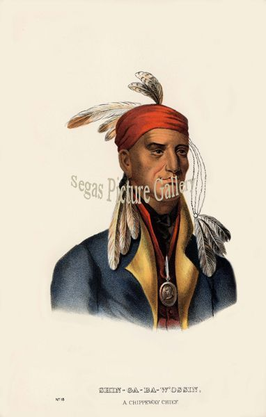 Fine art print of the American Indian Shin-Ga-Ba W'Ossin, or Image Stone, a Chippeway Chief by McKenney & Hall
