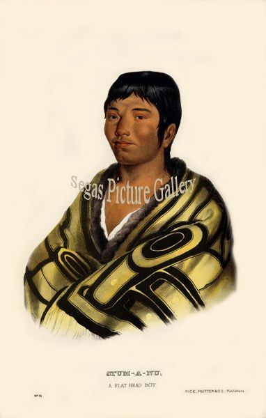Fine art print of the American Indian Stum-A-Nu, a Flat Head boy by McKenney & Hall